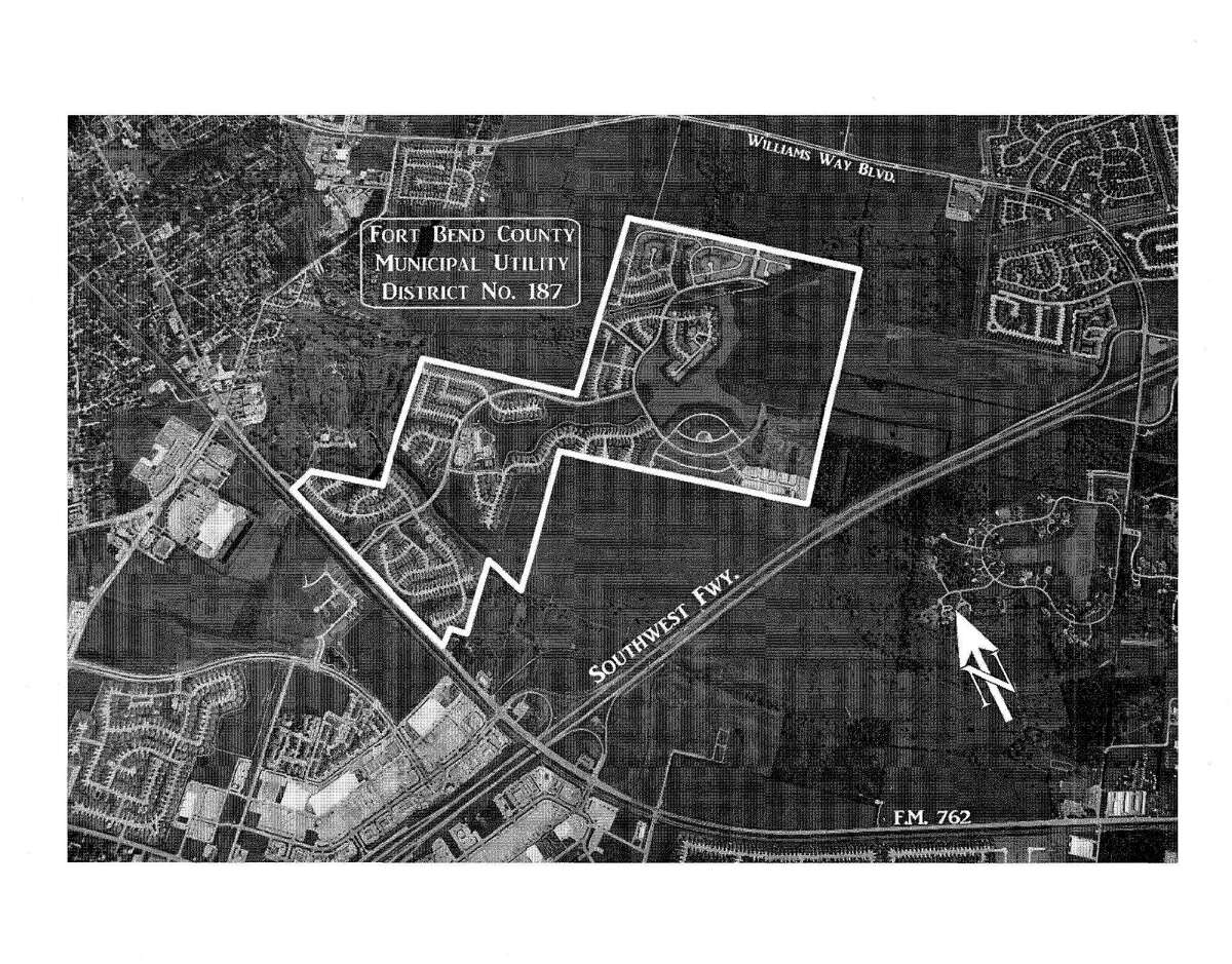 Image extracted from pdf. For Jim Drew MUD story. Shows MUD 187 in Fort Bend County. FORT BEND COUNTY MUNICIPAL UTILITY DISTRICT NO. 187 UNLIMITED TAX ROAD BONDS SERIES 2016 ******************** FORT BEND COUNTY MUNICIPAL UTILITY DISTRICT NO. 187 UNLIMITED TAX ROAD BONDS SERIES 2016 ******************** $4,200,000 ******************* ALLEN BOONE HUMPHRIES ROBINSON LLP BOND COUNSEL