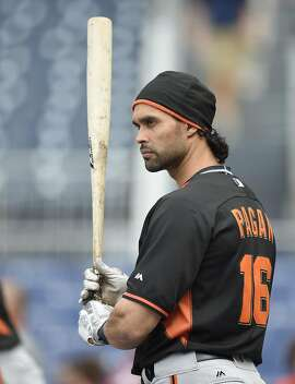 San Francisco Giants' Angel Pagan looks on during batting practice before a baseball game against the Washington Nationals, Friday, Aug. 5, 2016, in Washington. (AP Photo/Nick Wass)