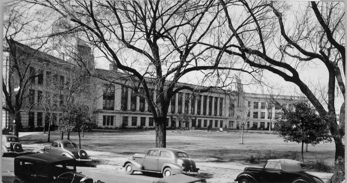 FILED: SAN JACINTO HIGH SCHOOL. San Jacinto High School. Photo dated Feb 10, 1938. HOUCHRON CAPTION (12/12/1999): The venerable building at 1300 Holman, shown below in 1938, has provided education at several levels since it opened as South End Junior High School in 1914. It became San Jacinto High School in 1926, and a year later, the institution that would become the University of Houston began offering night classes there. It housed technical and vocational classrooms during the 1960s and 1970s, and the Houston Community College System began offering junior college classes there in 1971. Today it anchors the HCCS Central Campus. HOUSTON CHRONICLE SPECIAL SECTION: THE HOUSTON CENTURY.