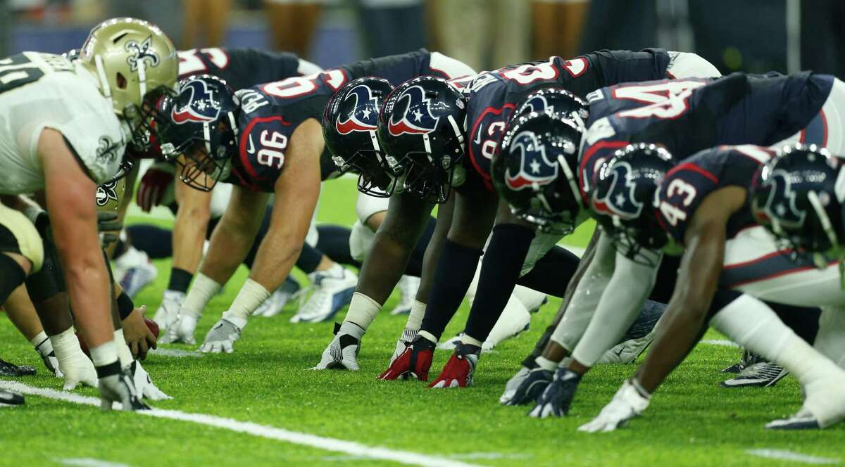 The Houston Texans field goal kick team lines up to defend a New Orleans Saints field goal attempt during the fourth quarter of an NFL pre-season football game at NRG Stadium on Saturday, Aug. 20, 2016, in Houston.