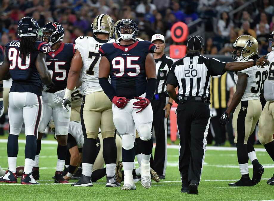 Houston Texans defensive tackle Christian Covington (95) reacts to a stop against the New Orleans Saints in the first half of an NFL preseason football game in Houston, Saturday, Aug. 20, 2016. (AP Photo/Eric Christian Smith) Photo: Eric Christian Smith, Associated Press / FR171023 AP