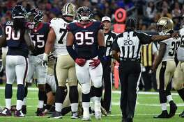 Houston Texans defensive tackle Christian Covington (95) reacts to a stop against the New Orleans Saints in the first half of an NFL preseason football game in Houston, Saturday, Aug. 20, 2016. (AP Photo/Eric Christian Smith)