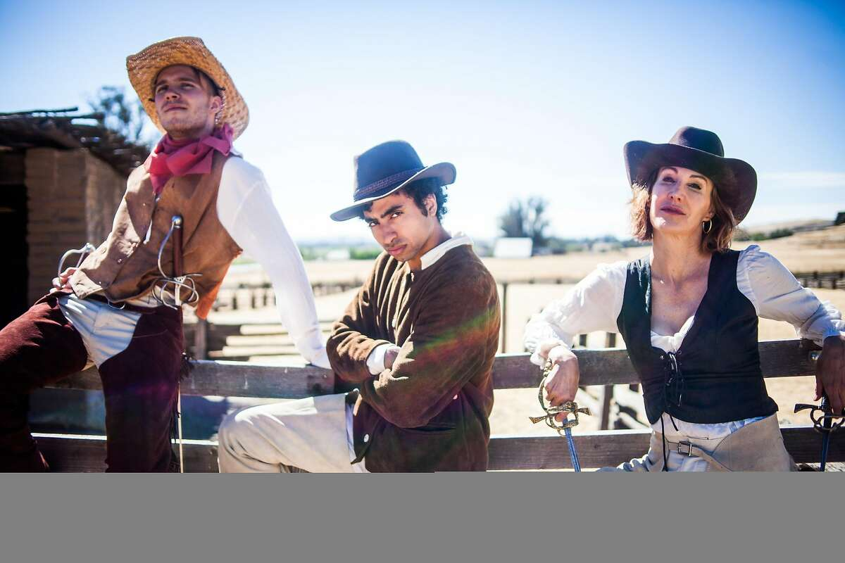 Benvolio (John Steele, Jr., left), Romeo (Mohammad Shehata) and Mercutio (Courtney Walsh) are a Wild West band of Montagues.