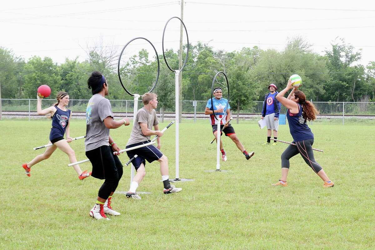 Quidditch players trying out for the League City Legends at Hometown Hero's Park Sunday afternoon. Photo by Pin Lim.