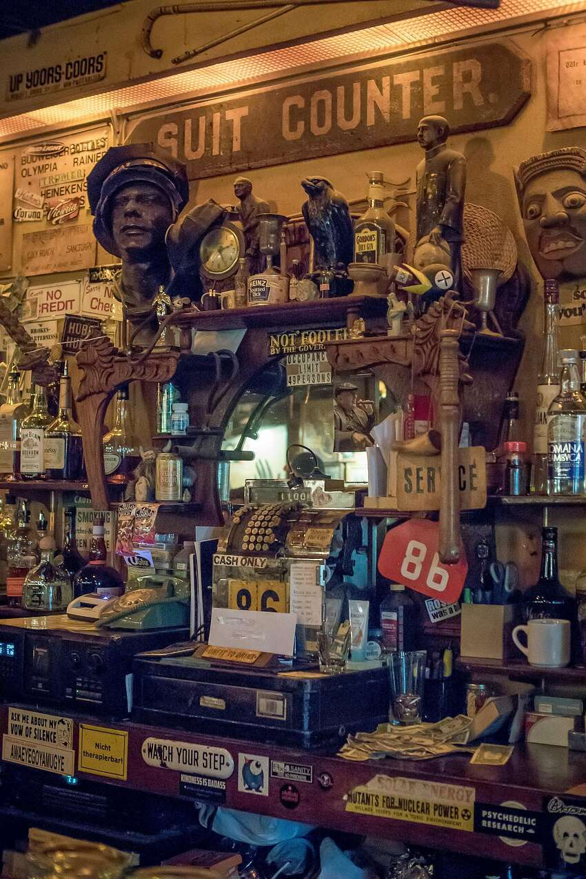 The interior of Specs' in San Francisco is a treasure trove of memorabilia and artifacts.