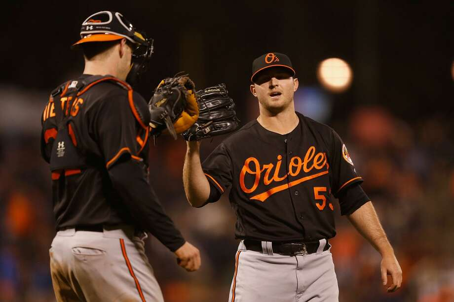 SAN FRANCISCO, CA - AUGUST 12: Catcher Matt Wieters #32 of the Baltimore Orioles celebrates with pitcher Zach Britton #53 of the Baltimore Orioles after a win against San Francisco Giants in an interleague game at AT&T Park on August 12, 2016 in San Francisco, California. (Photo by Lachlan Cunningham/Getty Images) Photo: Lachlan Cunningham/Getty Images