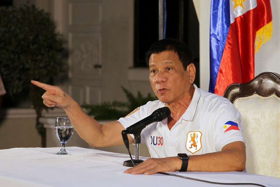 President Rodrigo Duterte, during a news conference in Davao City, threatens to withdraw the Philippines from the United Nations as he amplifies his crime-fighting rhetoric. Photo: KARL ALONZO, AFP/Getty Images