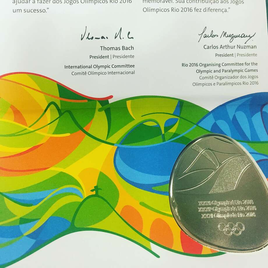 Media are awarded a medal for covering the 2016 Games Photo: Ann Killion
