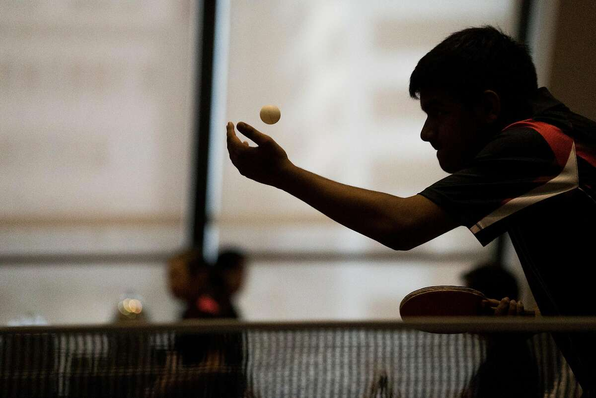 Sashrik Sribhashyam plays a game of Ping Pong at the Hilton in the Financial District of San Francisco Calif. on Sunday, Aug. 21, 2016. The San Francisco Chinatown Ping Pong Festival brings teams from around the Bay Area to compete.