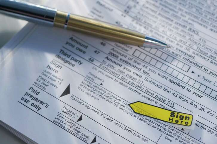 Close up of tax form