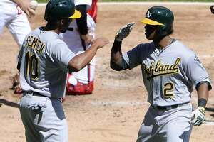 CHICAGO, IL - AUGUST 21: Khris Davis #2 of the Oakland Athletics is greeted by Marcus Semien #10 after hitting a two-run homer against the Chicago White Sox during the fourth inning on August 21, 2016 at Wrigley Field in Chicago, Illinois. (Photo by David Banks/Getty Images)