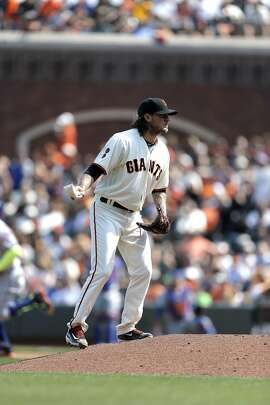 Giants' pitcher Jake Peavy not to happy after giving up a home run as the San Francisco Giants take on the New York Mets at AT&T Park in San Francisco , California, on Sat. Aug. 20, 2016.