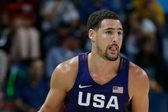 RIO DE JANEIRO, BRAZIL - AUGUST 21:  Klay Thompson #11 of United States drives the ball against Serbia during the Men's Gold medal game on Day 16 of the Rio 2016 Olympic Games at Carioca Arena 1 on August 21, 2016 in Rio de Janeiro, Brazil.  (Photo by Jamie Squire/Getty Images)