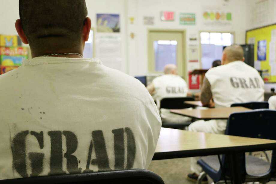 Those in the Texas prison system's Gang Renouncement and Disassociation program first take video classes in their cells, then move into a classroom as part of the way back into the general prison population. / TDJC