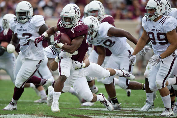 Texas A&M running back Kwame Etwi, who averaged a team-best 7.6 yards per carry in limited action last season, is expected to contend for an expanded role in the offense this season.
