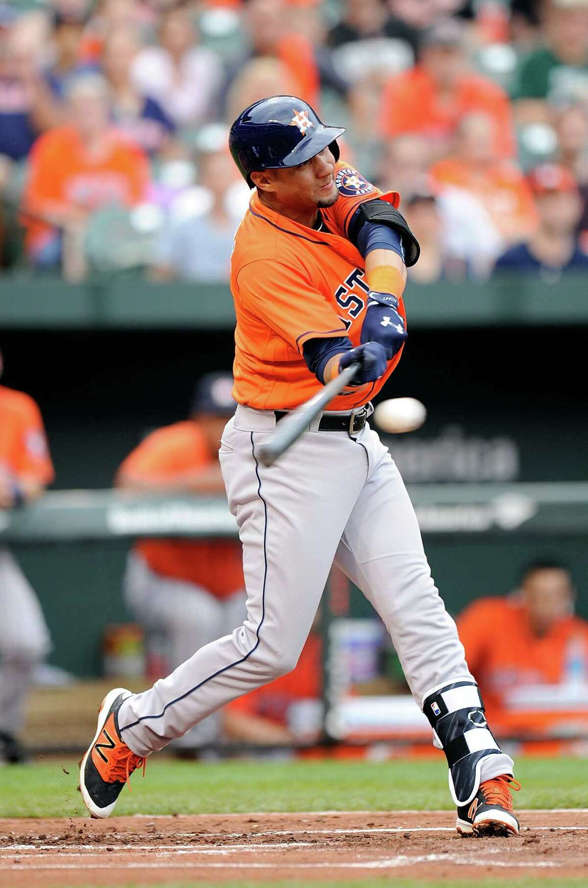 BALTIMORE, MD - AUGUST 21: Yulieski Gurriel #10 of the Houston Astros hits a single in his first major league at bat in the second inning against the Baltimore Orioles at Oriole Park at Camden Yards on August 21, 2016 in Baltimore, Maryland.