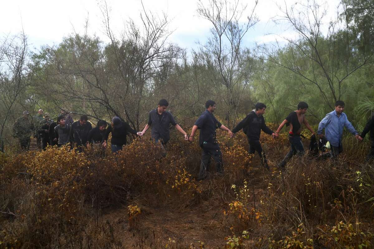 Detained immigrants are led through the brush after being captured by U.S. Border Patrol agents in August in Roma. Keep clicking to see data on immigration.