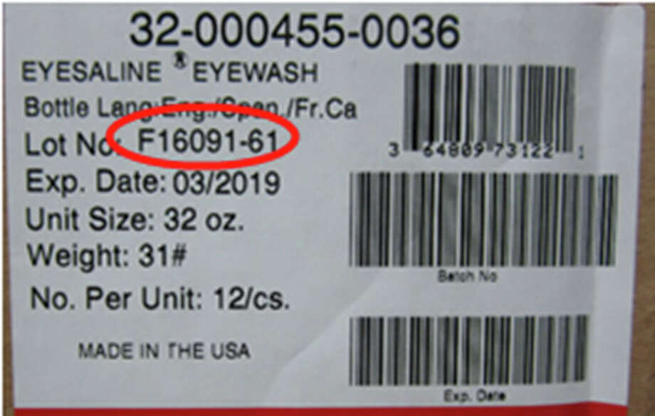 Honeywell is voluntarily recalling one production lot of 32-ounce bottles of Eyesaline Eyewash solution, which is used for emergency eye rinsing after an injury. Photo courtesy of the Food and Drug Adminstration. Photo: Contributed