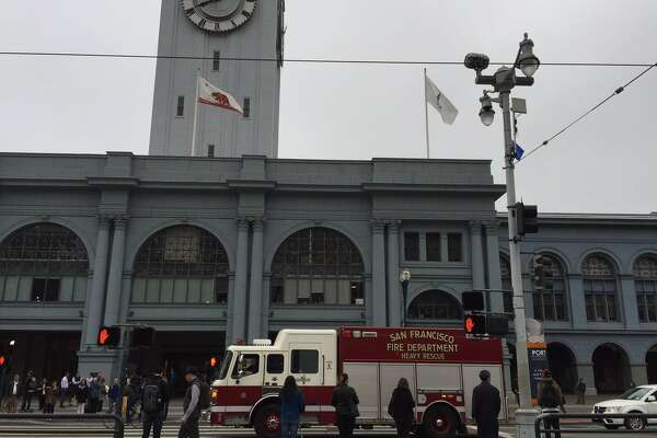 Firefighters used ladder trucks Monday morning to climb to the roof of the Ferry Building, where smoke was spotted at 7:14 a..m. The fire was out by 8 a.m.