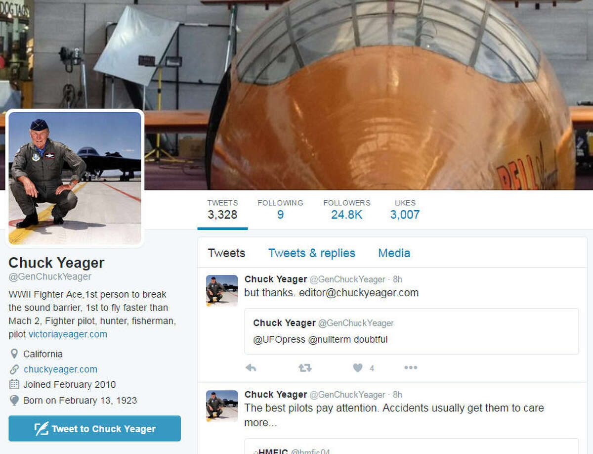 He's been on Twitter for years now but legendary test pilot Chuck Yeager has rarely answered questions about his decades of flying experience. That changed this past weekend, Aug. 19, 2016.