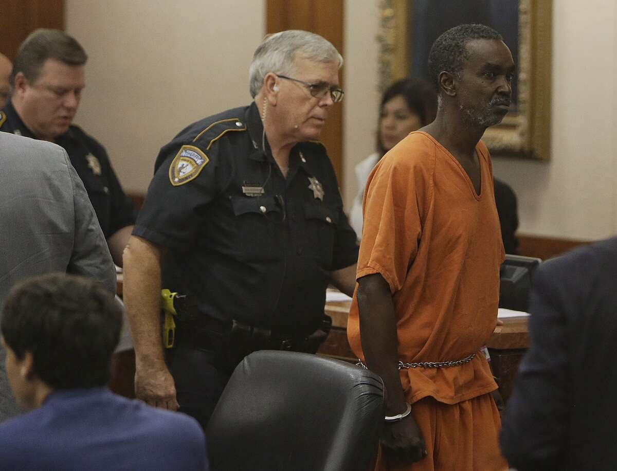 Raymond Jackson, 62, is shown in court Monday, August 22, 2016 in Houston. He is charged with murder in the death of Enayatolah Khorsand, who was found decapitated Thursday evening inside his auto parts store.