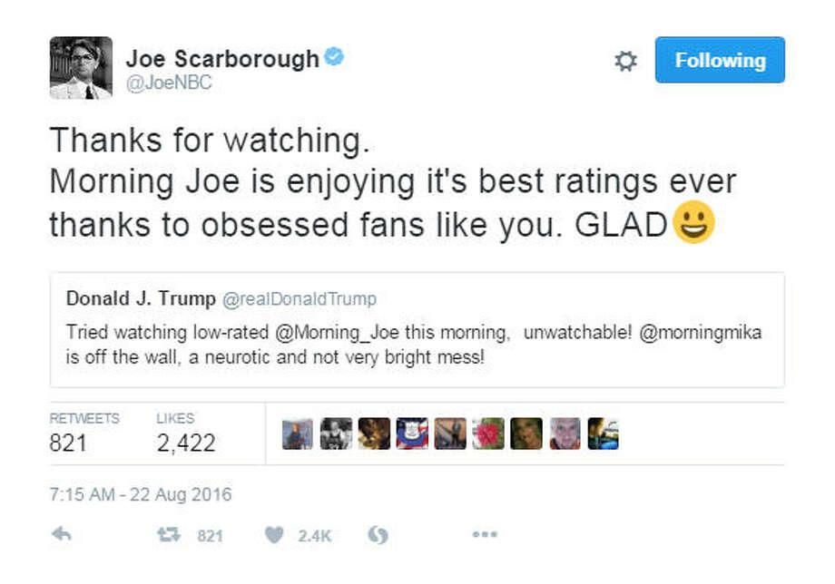 Donald Trump targeted Morning Joe co-hosts Joe Scarborough and Mika Brzezinski on Twitter on Monday, Aug. 22, 2016. Photo: Twitter