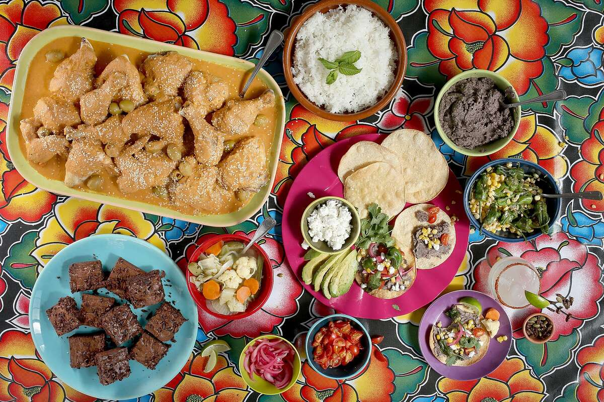 Oaxacan inspired dishes including tlayudas, chicken estofado, mescal margarita, Mexican chocolate brownies, chile-lime crickets and pumpkin seeds, and escabeche on Wednesday, August 17, 2016, in San Francisco, Calif.