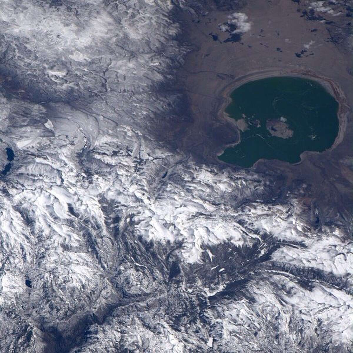 Astronaut Jeff Williams tweeted: Oblique view of #Yosemite National Park from over the Pacific looking east. #FindYourPark