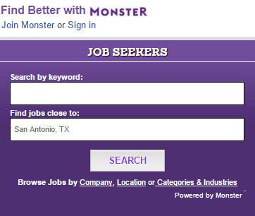 Search for a job on mySA, powered by Monster