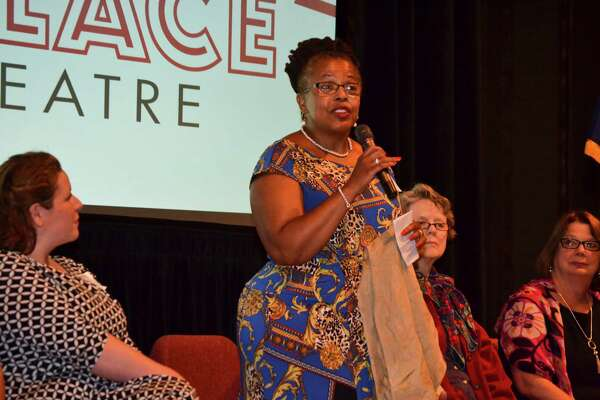 "Barbara Howard, teacher, professional singer, actress and storyteller, talked about her experiences as a woman in the arts at the ""Raising Our Voices: Women Finding Power Through the Arts"" Women@Work Connect event, held at the Palace Theatre in Albany on Tuesday, July 26, 2016. (Colleen Ingerto / Times Union)"