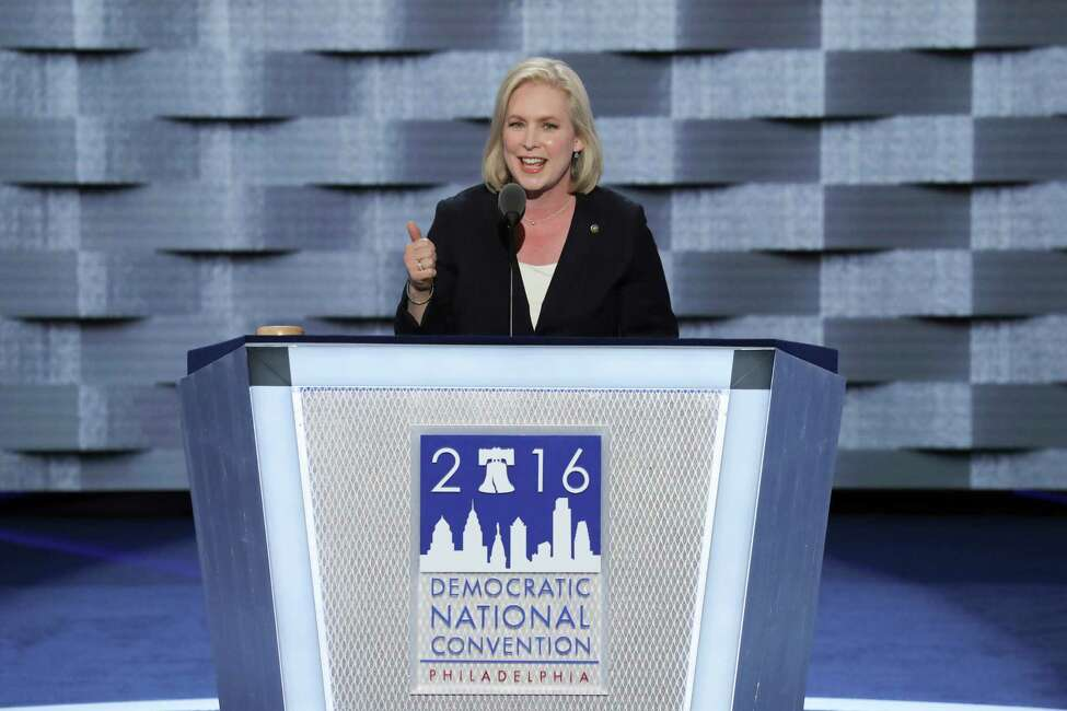 Sen. Kirsten Gillibrand (D-N.Y.) speaks at the Wells Fargo Center on the first day of the Democratic National Convention in Philadelphia, July 25, 2016. (Jim Wilson/The New York Times) ORG XMIT: XNYT310