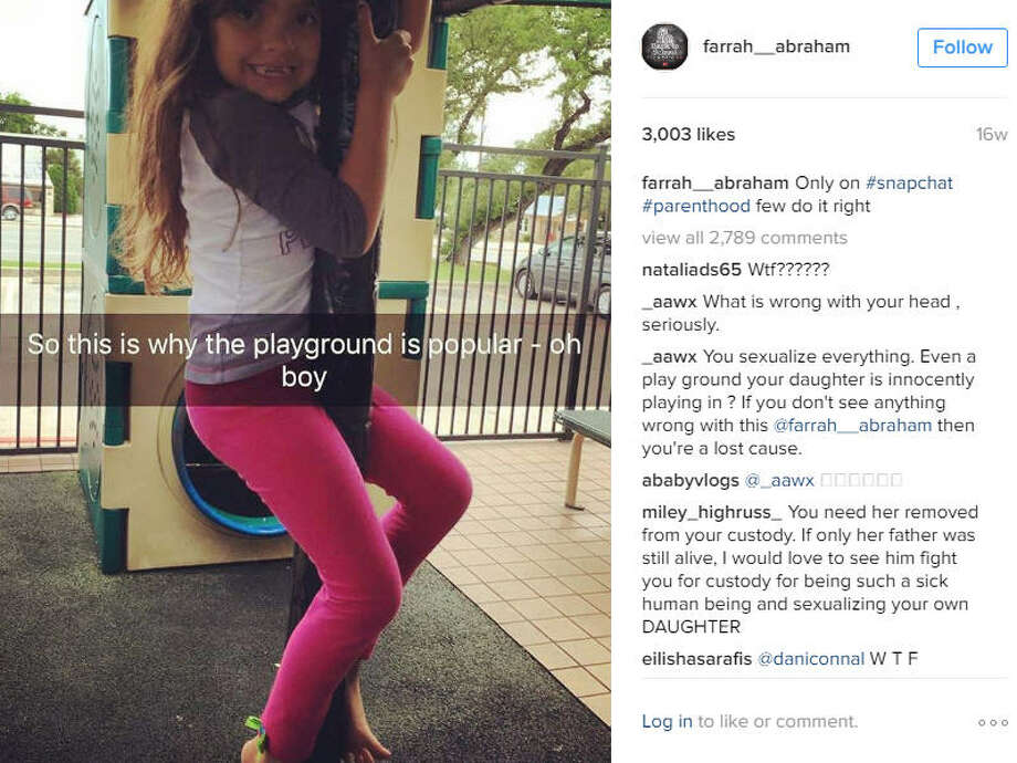 Reality star Farrah Abraham posted a photo of her daughter that raised concerns with her followers, but this isn't the first time she's gotten flack for her posts.Source: Instagram Photo: Instagram/Farrah Abraham