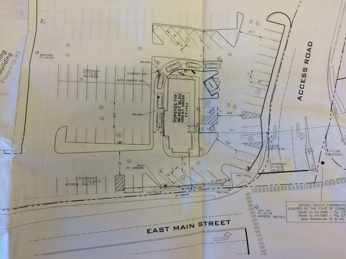 The plans on file in Stratford Town Hall of a proposal to build a Popeyes Louisiana Style Kitchen restaurant at The Dock shopping center. A judge recently overruled the Zoning Commission's rejection last year of the plan.