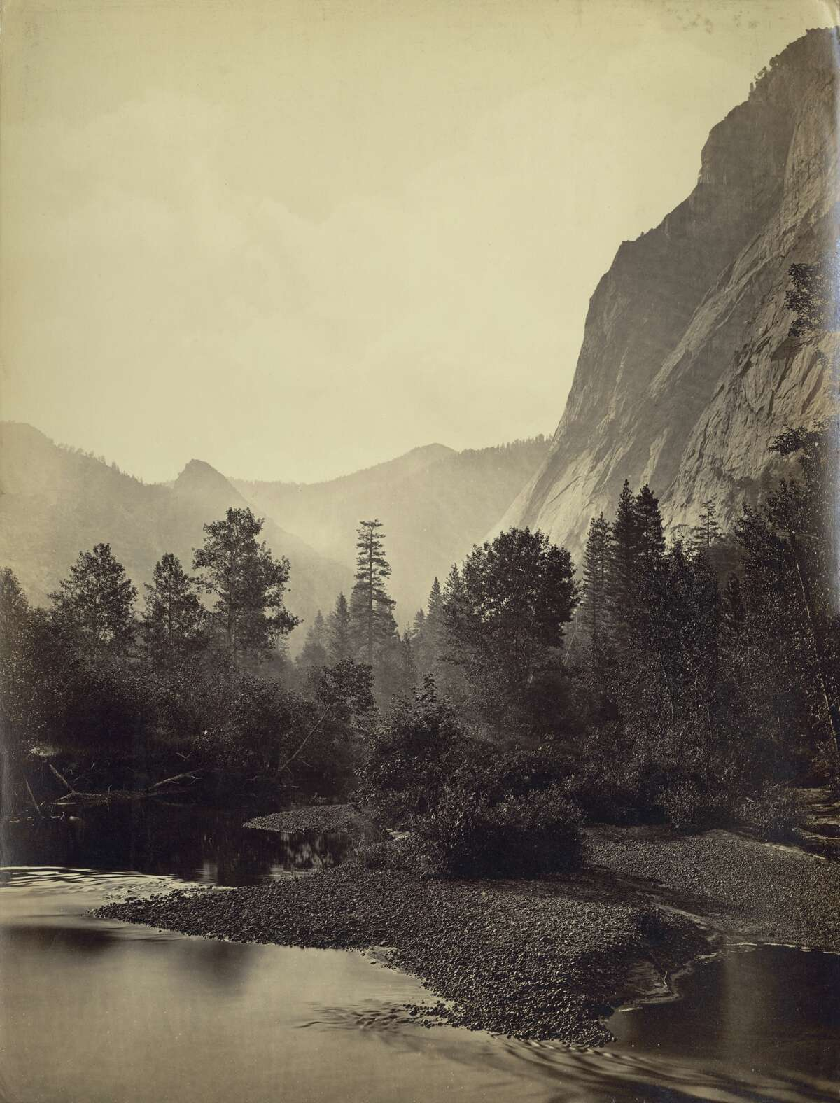 Mount Starr King (in the distance) and Glacier Point in Yosemite Valley, circa 1865.