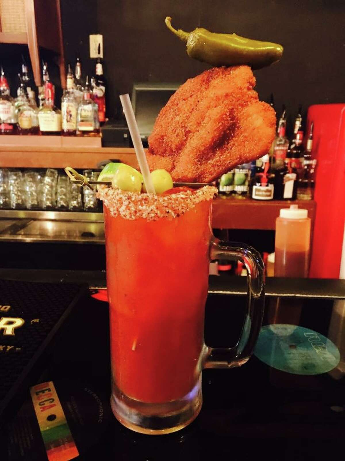Michelada with chicken-on-a-stick from The Bang Bang Bar.