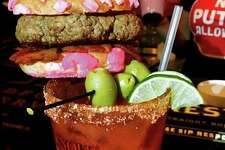 Michelada with concha slider from The Bang Bang Bar.