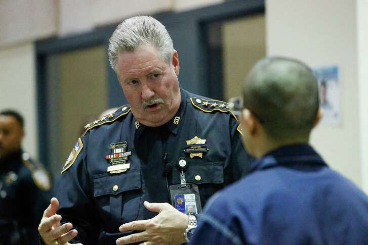 Harris County Sheriff Ron Hickman answers questions from youths at a juvenile facility in Katy as part of the Teen and Police Service Academy.  (Steve Gonzales  / Houston Chronicle  )