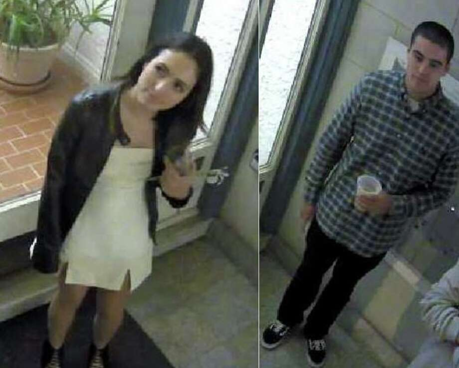 San Francisco police released this photo they say shows two suspects in possible graffiti incidents around the city.