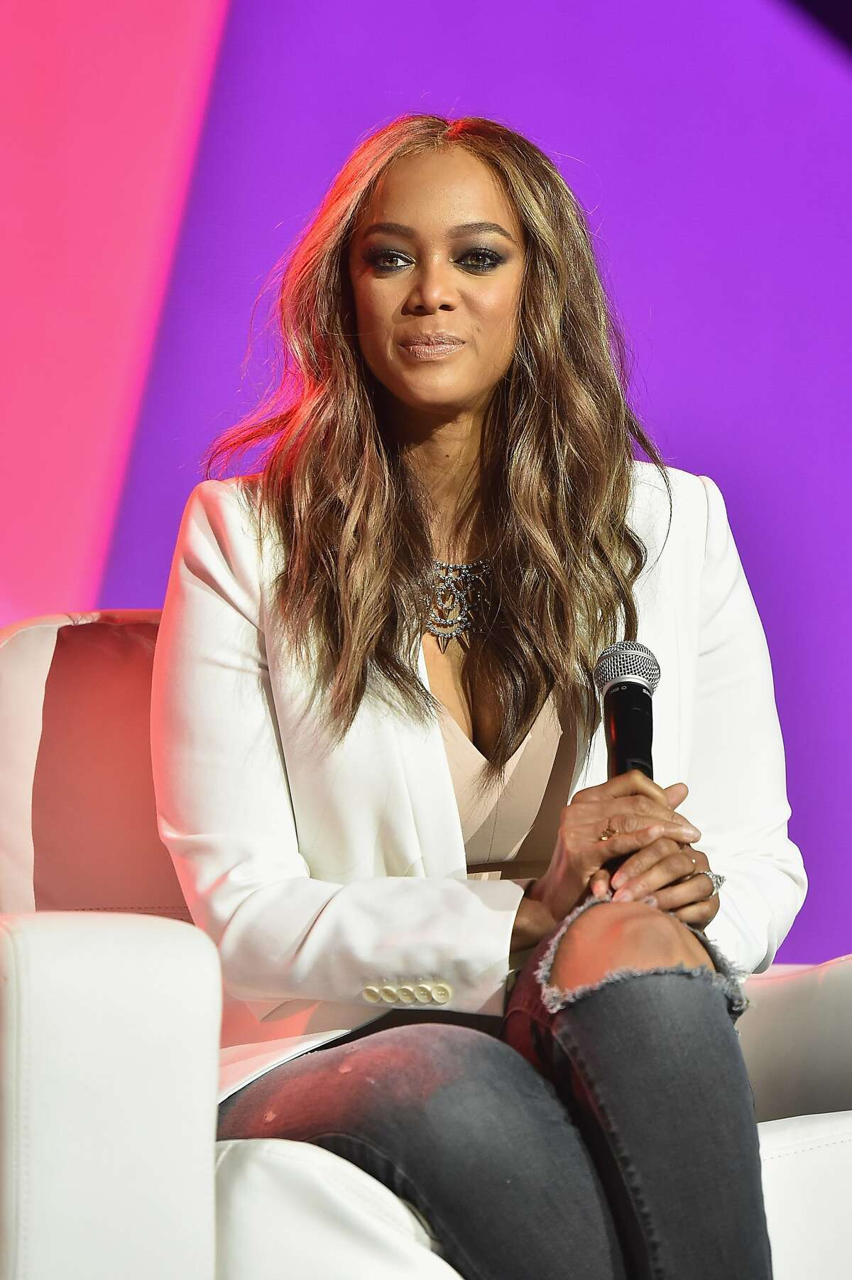 NEW ORLEANS, LA - JULY 02: Tyra Banks speaks onstage during the 2016 ESSENCE Festival presented By Coca-Cola at Ernest N. Morial Convention Center on July 2, 2016 in New Orleans, Louisiana. (Photo by Paras Griffin/Getty Images for 2016 Essence Festival)
