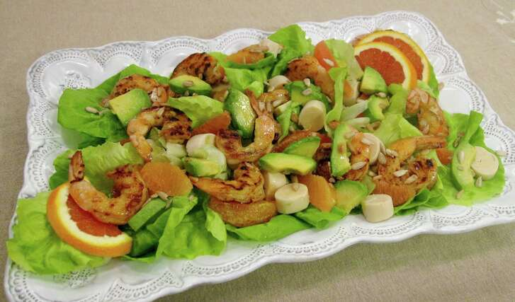 Spicy Shrimp with Hearts of Palm, Avocado and Orange Salad