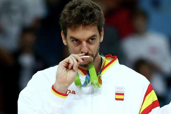 Bronze Medalist Pau Gasol of Spain stands on the podium on Day 16 of the Rio 2016 Olympic Games at Carioca Arena 1 on Aug. 21, 2016 in Rio de Janeiro.