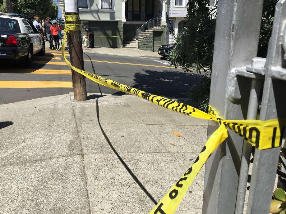 In this file photo, police crime scene tape is stretched in San Francisco. Eight people were injured when a vehicle collied with pedestrians at Ocean and Miramar avenues in San Francisco. Photo: Kale Williams
