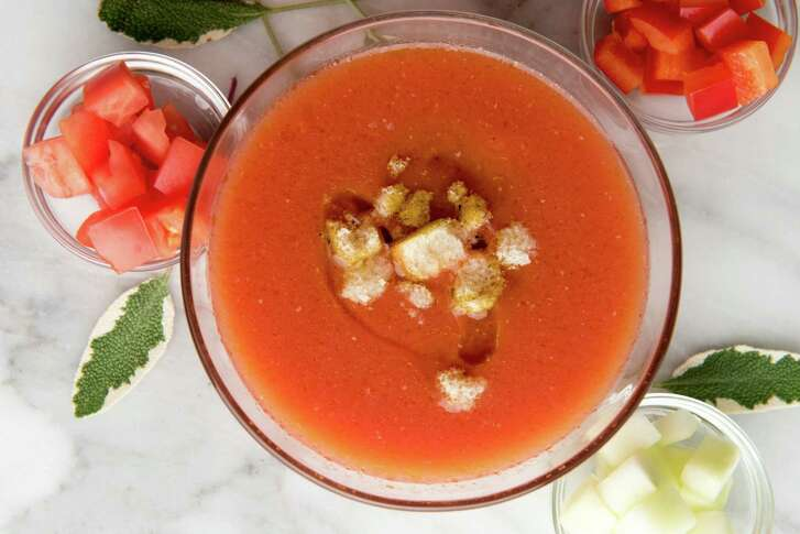 When serving a classic gazpacho, provide plenty of add-ins such as fresh peppers, onions and tomato on the side.
