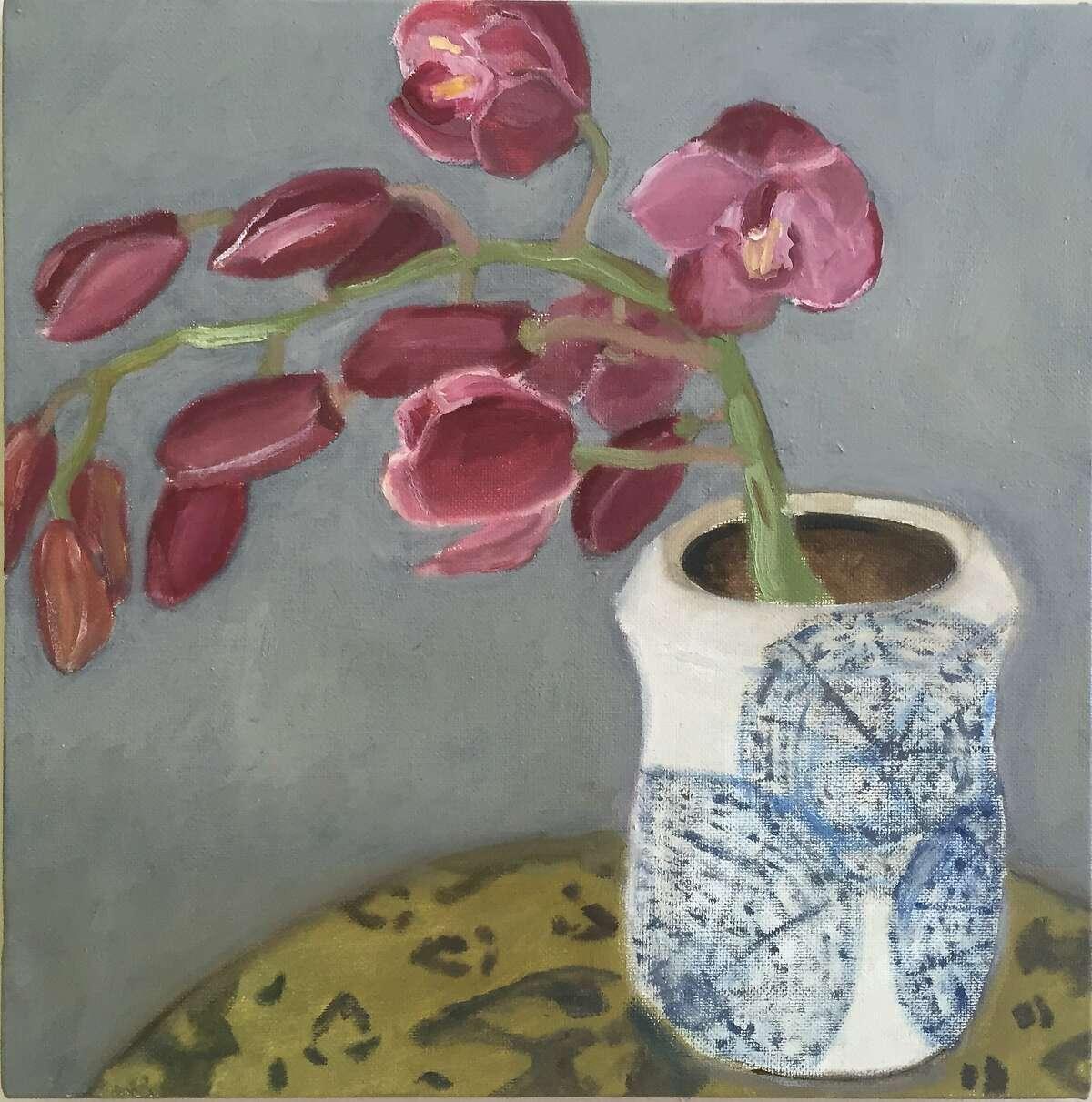Orchid in Leo�s Vase12� x 12� Oil Paintingphoto Marie Van Elder