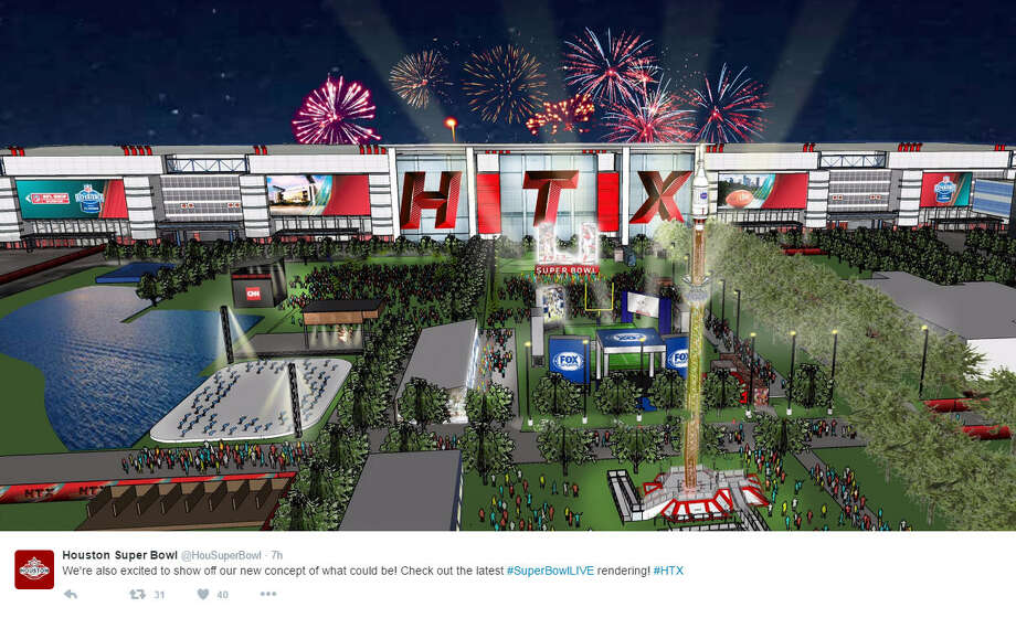 Houston Super Bowl host committee boasted their renderings for Discovery Green for Super Bowl Live, but faced criticism for the use of HTX rather than HOU on the exterior of the convention center.Source: Twitter Photo: Twitter/Houston Super Bowl