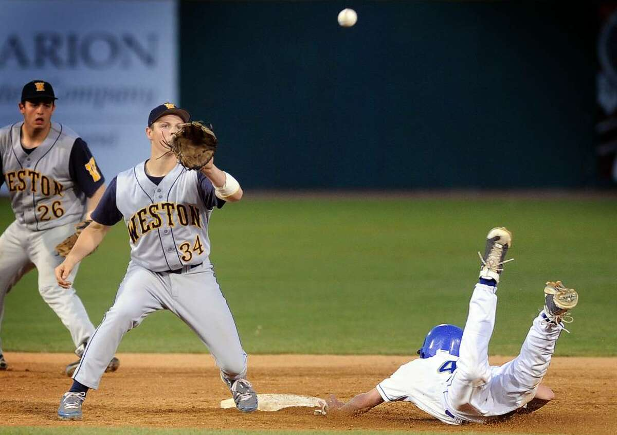 Newtown's John Fracker steals second base as Weston's Mike McDonald waits for the ball during Friday night's game at the Arena at Harbor Yard in Bridgeport.