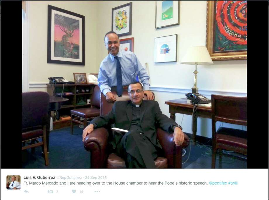"""U.S. Rep. Gutierrez of Illinois, standing, poses with Father Marco Mercado, the former rector of the Our Lady of Guadalupe shrine in Des Plaines who is now at a South Side parish seeking a formal transfer to the Archdiocese of San Antonio, in a photo tweeted from Capitol Hill Sept. 24, 2015 before the two men attended Pope Francis' address to Congress. Father Mercado was removed from his ministry for an """"inappropriate relationship with an adult man"""" a week before the image was taken. Photo: COURTESY /COURTESY / COURTESY PHOTO"""