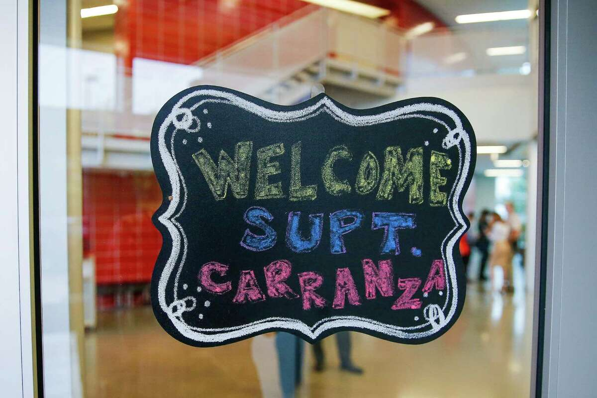 A sign welcomes new HISD Superintendent Richard Carranza to Carnegie Vanguard High School on August 22, 2016 in Houston. U.S. News & World Report said 598 Texas high schools placed in their annual