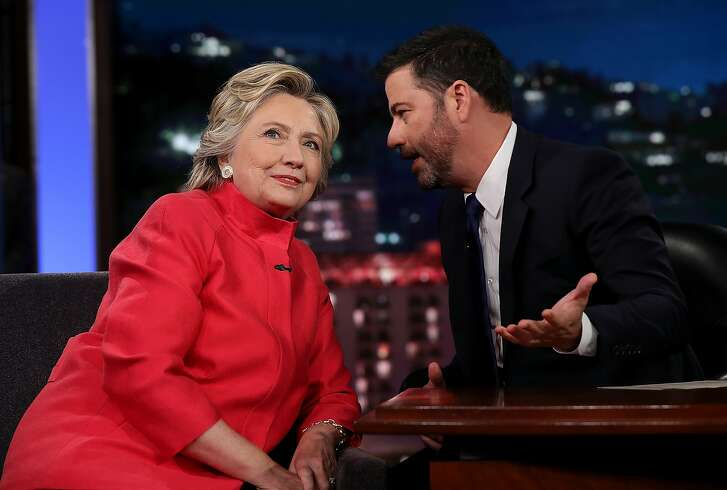 LOS ANGELES, CA - AUGUST 22:  Democratic presidential nominee former Secretary of State Hillary Clinton talks with Jimmy Kimmel on the set of Jimmy Kimmel Live on August 22, 2016 in Los Angeles, California. Hillary Clinton taped an appearance on Jimmy Kimmel Live while in Southern California to attend fundraisers.  (Photo by Justin Sullivan/Getty Images)