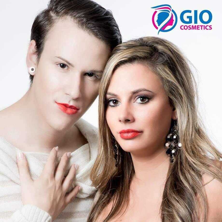 Siblings Gio Falciano and Jacquelyn Porreca posed together in a poster for Falciano's cosmetics line. (Provided photo)